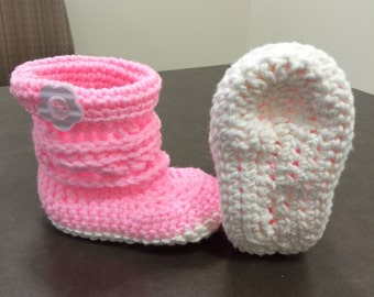 Baby blue and pink booties for 0-12 months