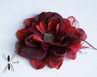 Hair flower Tim Burton style. Pin-up, Gothic. Katipo Art