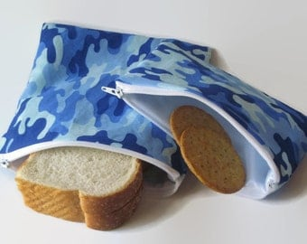Reusable snack and sandwich bag set, Blue Camo Food Grade PUL bags, waste free lunch, washable snack pouch, sandwich bag set, food storage