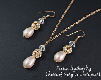 Bridesmaid jewelry set, Bridesmaid gifts, Necklace with earrings, Ivory White drop pearls,  14k gold filled, Simple wedding jewelry bridal