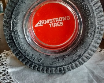 Vintage-Armstrong tires-advertising-tire-ashtray-glass insert