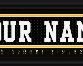 University Of Missouri Mizzou Tigers NCAA Framed Personalized Jersey Nameplate College Sports Home Decor 22