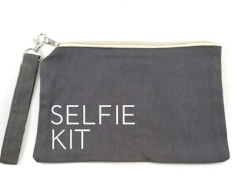 Small Canvas Makeup Bag - Zippered Makeup Pouch - Funny Gift Idea - Travel Bag - Zippered Pouch - Selfie Kit