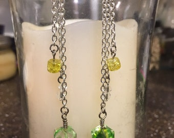 Faceted triple drop earrings: green and yellow