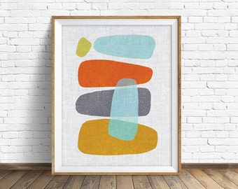 "mid century modern art, mid century modern wall art, large art, printable art, instant download, large wall art, abstract art - ""Pods No. 2"""