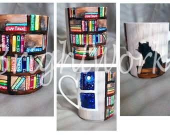 Library painted mug