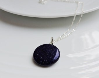 Midnight Blue Sandstone Round Coin Pendant on Silver Chain Necklace - Dark Navy Goldstone Sparkle - Choice of chains, custom chain length
