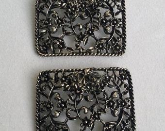 Vintage Pewter Tone Filigree Shoe Clips. Floral Filigree Shoe Clips