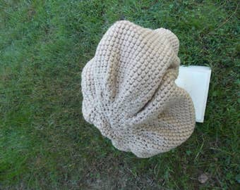 TAUPE CROCHET SLOUCHY Hat