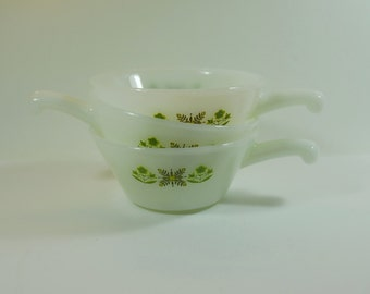 3 Mid-Century Anchor Hocking Fire King Green Meadow Soup Bowls with Handles, Milk Glass Soup Dishes,