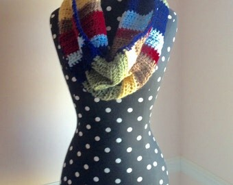 Colorful Crocheted Infinity Scarf