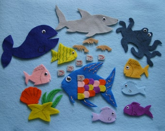 "The Rainbow Fish"" Children Story Flannel board story felt set"