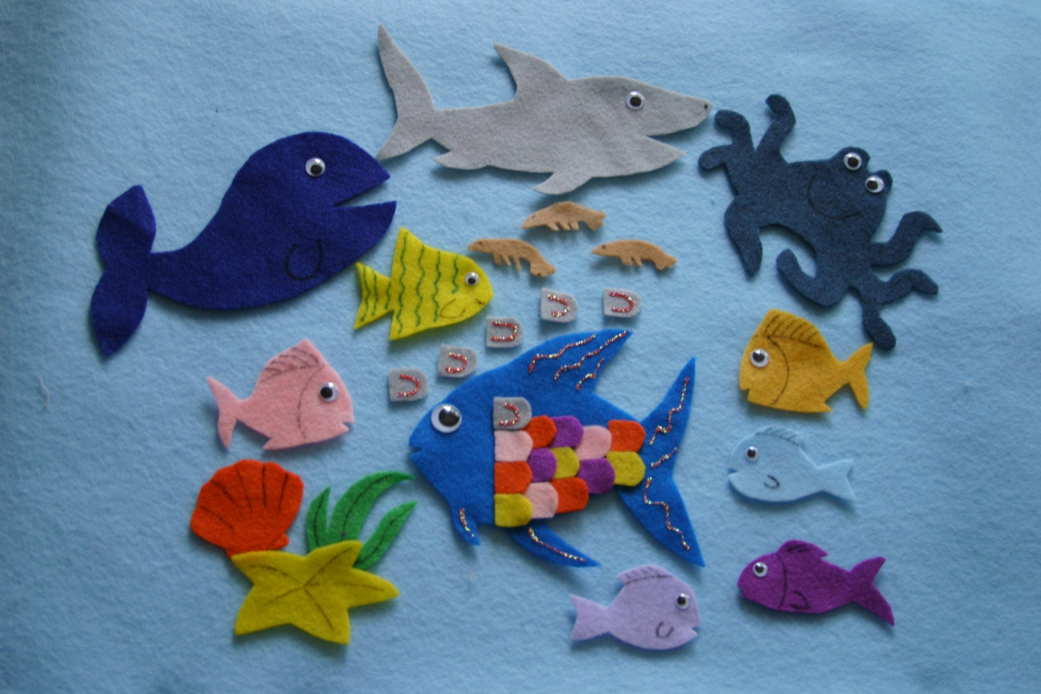 The rainbow fish children story flannel board story felt for The rainbow fish