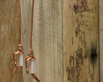 Copper drop earrings with abalone shell