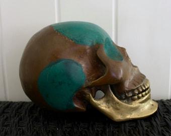 Skull - Antique Green Gold Brass - Rustic, Gothic, Alternative SMALL/MED