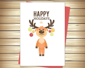 Reindeer Holiday Card | Happy Holidays | Christmas Card | Greeting Cards | Digital Download