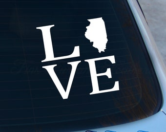 Love Illinois Decal - State Decal - Home Decal - IL Sticker - Love - Laptop - Macbook - Car Decal