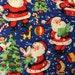 Vintage style Santa Claus Christmas Fabric, holiday fabric, winter fabric, christmas tree fabric, toys fabric