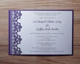 Purple Wedding Invitation, beautiful Invitation, Purple  Wedding Invitations, Purple Invitations, Lace Invitation, lace, Purple Invitation