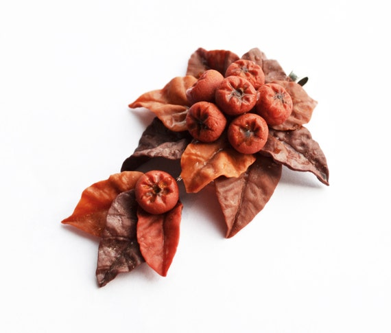 Autumn Leaves, Thanksgiving Jewelry, Berry Pendant Rowan Hawthorn, Pendant leaf, necklace Orange Leaf Jewellery Autumn brooch, trending now