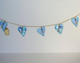 Fabric heart garland, blue heart garland, fabric heart bunting, decorative garland, hanging fabric hearts, country style home, gift for her