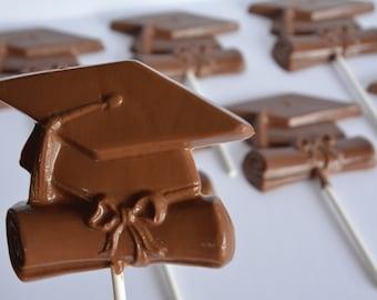 Graduation Lollipop (12), Chocolate Graduation Favor, Chocolate Graduation Sucker, Graduation Chocolate, Chocolate Cap and Diploma, Graduate