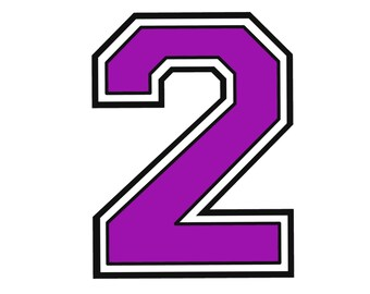 Iron on purple number 2 for t shirt transfer INSTANT DOWNLOAD
