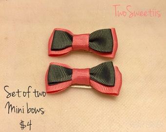 Pink and Gray Mini Hair Bows (Set of 2)