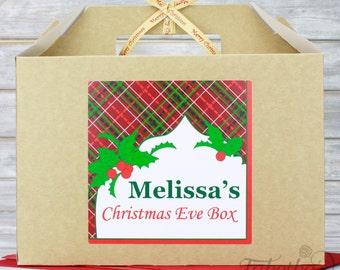 Personalised Large Christmas Eve Box, Kraft Brown with Merry Christmas Ribbon, Tartan Design