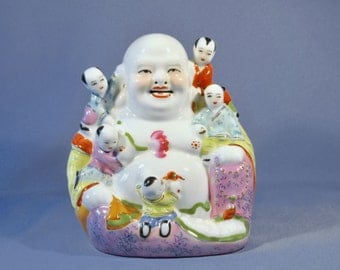 Vintage Chinese Laughing Buddha Figurine Statue Porcelain五子登科 DSC_00211