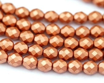 10 Czech glass beads 8 mm / Matt metallic copper