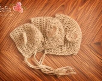 Teddy Bonnet - 3 available sizes (Mohair wool)