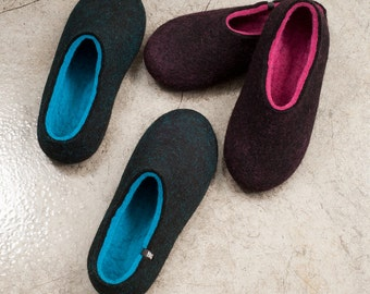 Wool Felt Slippers, Gifts for couples, wool clogs, unique black slippers, best womens slippers, winter slippers, warm slippers, house shoes