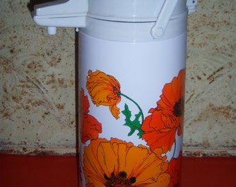 Eagle Aladdin Pump Carafe Thermos for Hot or Cold Beverages -Poppy