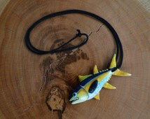 Yellowfin Tuna Necklace, Yellowfin, Tuna, Clay Necklace