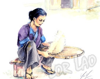 Hmong Art Painting, Watercolor, Pastel, Poster, Print, Woman, Rice