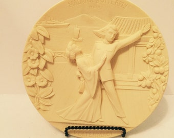 Vintage Ivory Alabaster Madama Butterfly Collector Plate