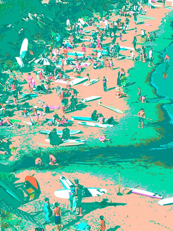 Digitized Modern Art Beach Print