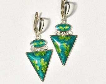 Fine silver, Cloisonne enamel Earrings - flowers