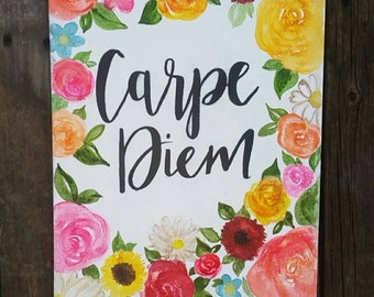 wall art Hand painted water color canvas- Carpe Diem, home decor, floral, watercolor, custom 11x14