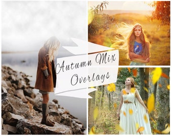 SALE, 50 Autumn Photoshop Overlays, Falling Leaves, Fog Overlays, Rain Overlays, Clouds, Lens Flare, Marketing Board