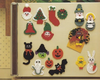 Holiday Fridgies to Crochet, Leisure Arts Crochet Pattern Booklet 328 Magnets Appliques Motifs & More