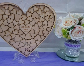Personalised wood heart dropbox guestbook wedding anniversary birthday party