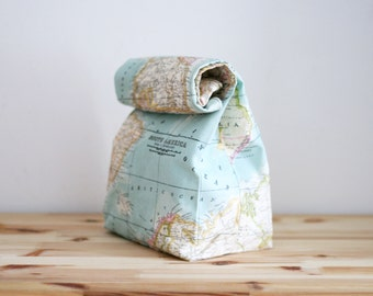Waxed canvas Lunch Bag with cotton lining, wax canvas bag, Picnic bag, Brown bag, Food bag, Lunch box, lunch tote, world map - Worldmap