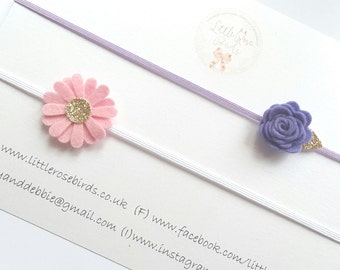 Girl/Baby/Ladies Small Felt Rose & DaisyHeadband Set on Skinny Elastic-Can be Made In Any Colour -