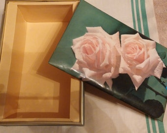 Vintage Pink Pristine Rose Photo Keepsake Treasure Jewelry Box Sewing Memory Box 1979 C Luchsinger Italy