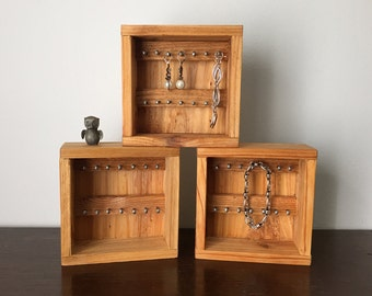 Small Cedar Earring / Ring holder storage display box set of 3