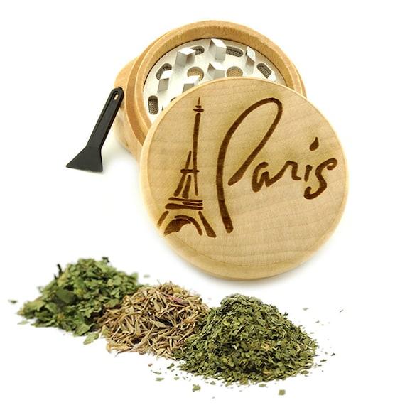 Paris Design Engraved Premium Natural Wooden Grinder Item # PW61716-5