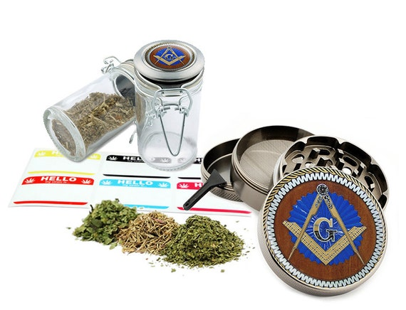 "Freemason - 2.5"" Zinc Alloy Grinder & 75ml Locking Top Glass Jar Combo Gift Set Item # G022315-003"