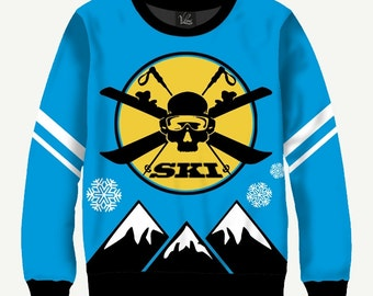 SKI, Skull And Skis - Men's Women's Sweatshirt | Sweater - XS, S, M, L, XL, 2XL, 3XL, 4XL, 5XL